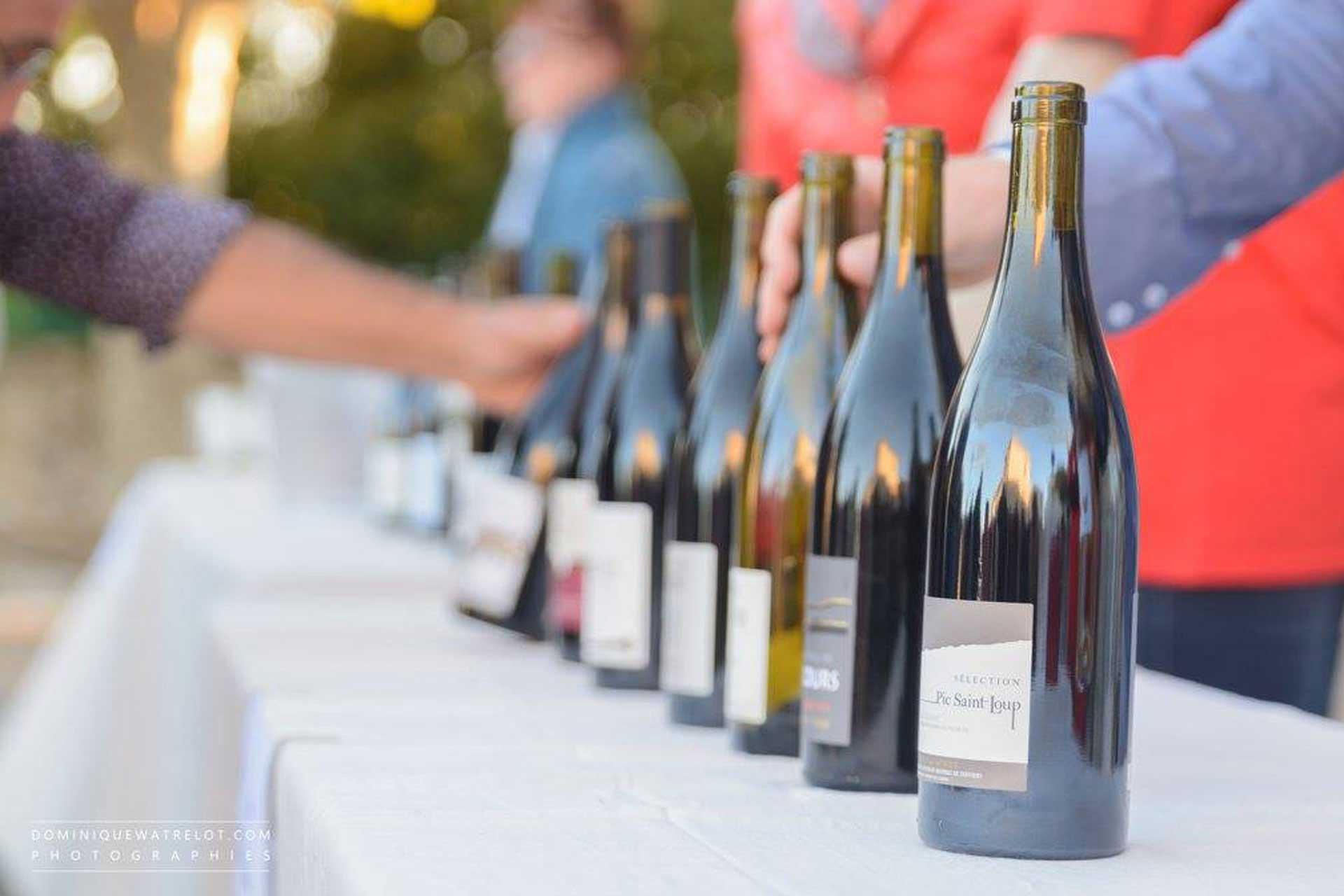 Les bouteilles de vins du Pic Saint Loup présents au festival du Festapic à Fontanès, dans l'Hérault (34)
