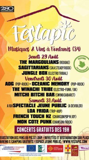 Affiche du festapic 2019, festival Musique et vins