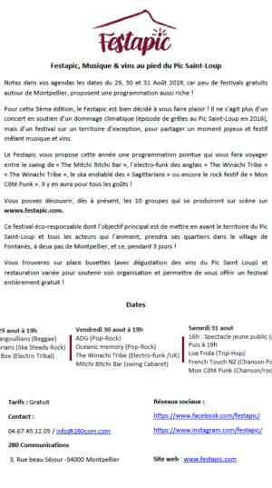 Présentation du Festapic Festival Musique & Vins 2019 à Fontanès (Hérault - 34)