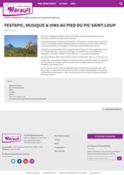 Article paru sur le site du département de l'Hérault